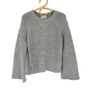 Madewell Grey Bell Sleeve Chunky Knit Sweater Tight Knit Crewneck Alpaca Blend